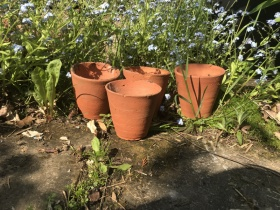 Image of 4 Victorian terracotta pots