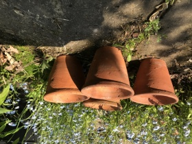 4 Single rim hand thrown Victorian Flower pots